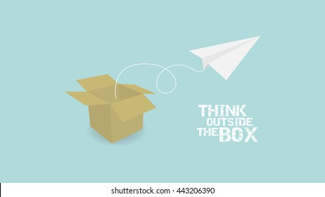 Think Outside Of Box concept. paper palne and paper box vector EPS10