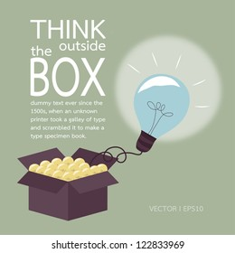 Think outside the box concept, vector