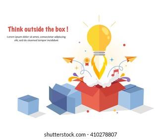 Think Outside The Box. Creative idea. Conceptual flat  illustrations