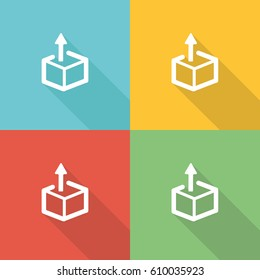 Think Outside The Box Flat Icon Concept