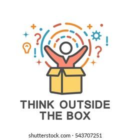 Think outside the box icons. Outside the box creativity has no limits.
