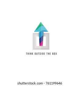 think outside the box . illustration poster