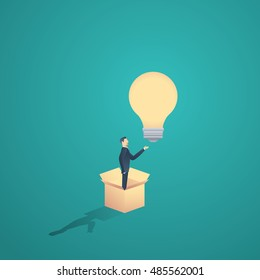 Think outside the box motivational business concept vector. Creativity symbol with business man standing in a box and a lightbulb. Eps10 vector illustration.
