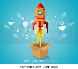 think outside the box. space shuttle launch to the sky ejected from circle. startup business concept. creative. icon rocket. vector illustration paper art