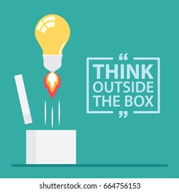 Think outside the box with text. Vector illustration, Flat and minimal design.