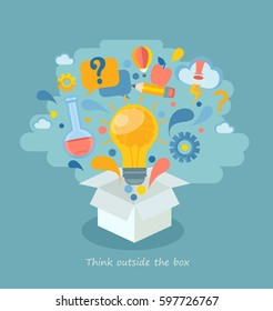 Think outside the box, vector illustration.