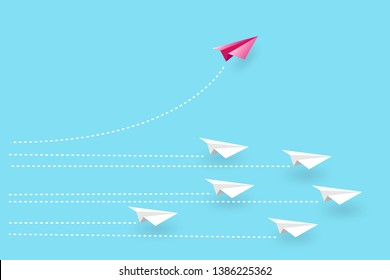 think outside the  concept. paper airplane red .Start up. Leadership.