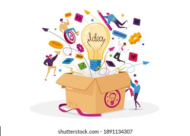 Think Outside Concept. Tiny Male or Female Business Characters Fly around of Huge Carton Box with Light Bulb, Stationery, Media Icons and Office Supplies Flying Out. Cartoon People Vector Illustration