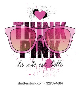 think pink, quote design, t-shirt print