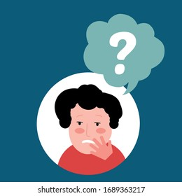 Think question mark character problem icon vector