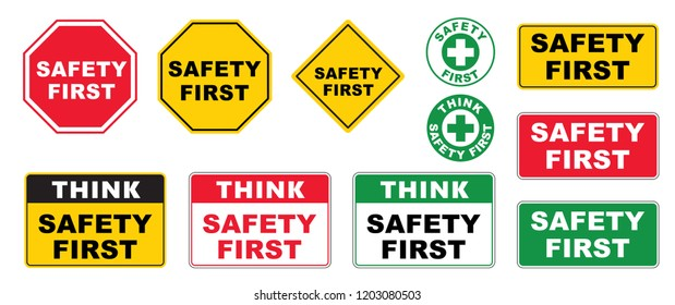 Think safety first logo icon symbol Vector eps sign Safety First Octagonal Shape Industrial Sign yellow square warning sign work image fun funny Hard hat industrial Sign resuscitation aid cpr aed