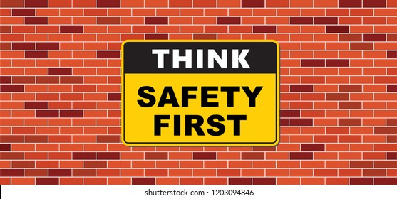Think safety first logo icon symbol Vector eps sign Safety First Octagonal Shape Industrial Sign yellow square warning sign work fun funny Hard hat industrial Sign World day Safety and Health at Work