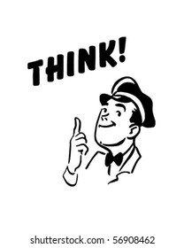 Think! - Service Station Mechanic - Retro Clip Art
