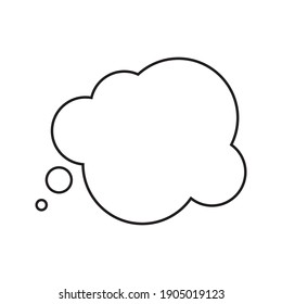 Think speech bubble blank icon vector on white background