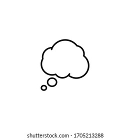 Think Speech Bubble Line Vector on White Background. Speech box for text, chat and discussion. Talk Bubble