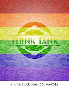Think Tank on mosaic background with the colors of the LGBT flag