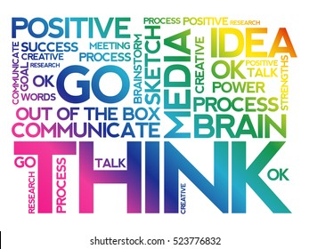 THINK word cloud collage, business concept background