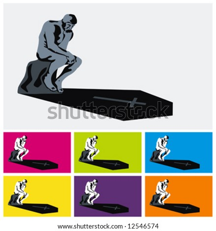 thinker his coffin shadow vector illustrations stock vector royalty