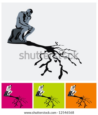 thinker his tree shadow vector illustrations stock vector royalty