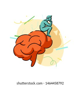 Thinker illustration, man sitting on brain. Brainstorm concept, hard thinking, searching for new idea solutions.