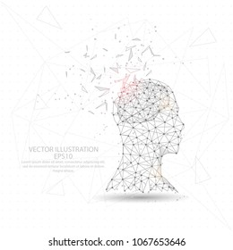 Thinker man head and brain point, line and composition digitally drawn in the form of broken a part triangle shape and scattered dots low poly wire frame on white background.