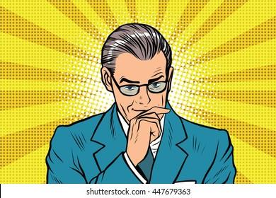 The thinker thinking man pose a sun rays background pop art retro vector
