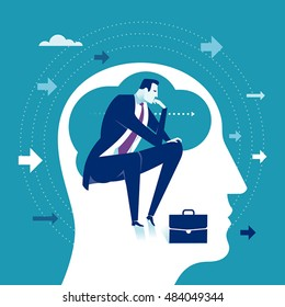 Thinker. Thinking manager business concept vector illustration.