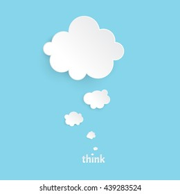 think.Infographic design white thought bubble on the blue background. Eps 10 vector file.