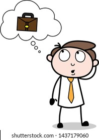 Thinking About the Briefcase - Office Businessman Employee Cartoon Vector Illustration