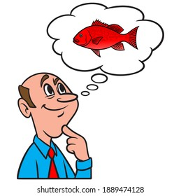 Thinking about fishing for Red Snapper - A cartoon illustration of a man thinking about fishing for Red Snapper.