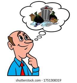 Thinking about Garbage - A cartoon illustration of a man thinking about Garbage.