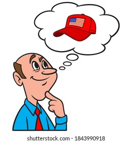 Thinking about MAGA - A cartoon illustration of a man thinking about the Make America Great Again movement.
