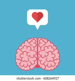 Thinking brain with heart in speech bubble isolated on blue background. Emotion, intelligence, love and creativity concept. Flat design. Vector illustration. EPS 8, no transparency