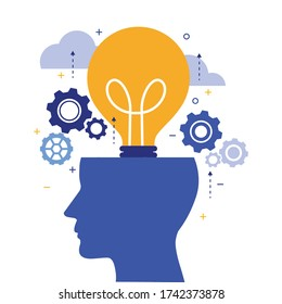 thinking brainstorming head symbol. creative with ideas of thought and analytics. Light bulb working concept. vector illustration modern in flat design. isolated on white background.