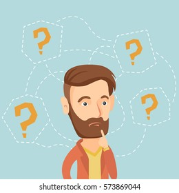 Thinking business man standing under question marks. Young caucasian hipster business man thinking. Thinking business man surrounded by question marks. Vector flat design illustration. Square layout.