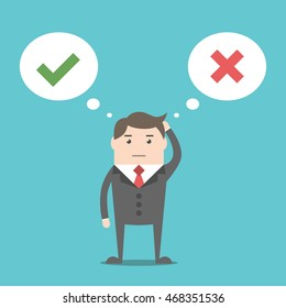 Thinking businessman with speech bubbles choosing option between yes and no. Choice, problem and decision concept. Flat style. EPS 8 vector illustration, no transparency