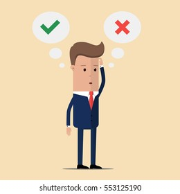 Thinking businessman with speech bubbles choosing option between yes and no. businessman and choice yes or no. Choice, problem and decision concept