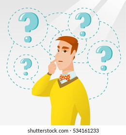 Thinking businessman standing under question marks. Young caucasian businessman thinking. Thinking man surrounded by question marks. Vector flat design illustration isolated on white background.