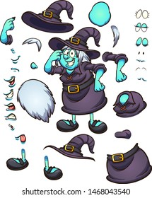 Thinking cartoon Halloween witch character with different body parts and expressions, ready for animation. Vector illustration with simple gradients. Some elements on separate layers. \r\n