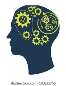 thinking design over gray background vector illustration