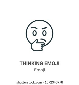 Thinking emoji outline vector icon. Thin line black thinking emoji icon, flat vector simple element illustration from editable emoji concept isolated on white background
