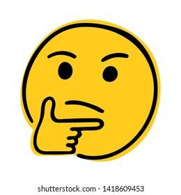 Thinking Face emoji. Doodle thinking emoji