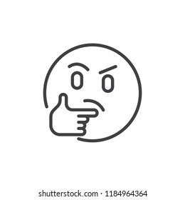 Thinking face emoji outline icon. linear style sign for mobile concept and web design. Emoji pondering face simple line vector icon. Symbol, logo illustration. Pixel perfect vector graphics