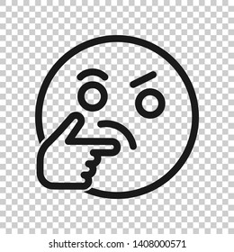 Thinking face icon in transparent style. Smile emoticon vector illustration on isolated background. Character business concept.