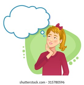 Thinking Girl with speech bubble, vector image, eps10