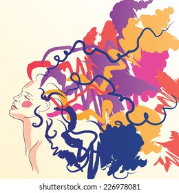 thinking happy girl, hand drawn woman in art mood, art therapy banner, vector illustration