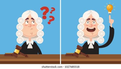 Thinking and having good idea judge character mascot. Vector flat cartoon illustration set