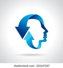 thinking head with blue arrow