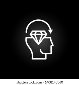 thinking, head, diamond, arrow, perfectionist neon icon. Elements of positive thinking set. Simple icon for websites, web design, mobile app, info graphics