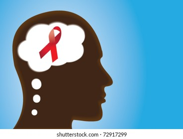 Thinking Head showing HIV/Aids Red Support Ribbon.